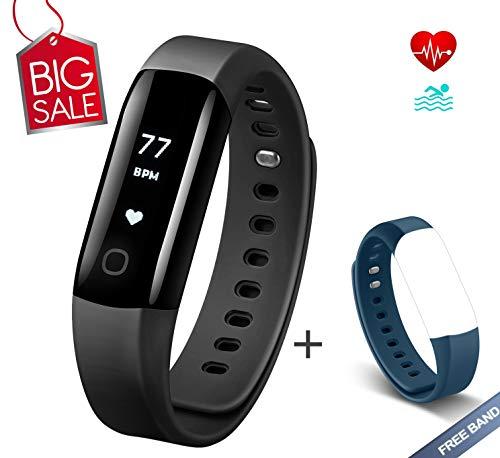Arbily Fitness Armband Herzfrequenz mit IP68 Wasserdicht Fitness Tracker Aktivität Smart Armband mit Alarm/Schritt Tracker/Kalorienzähler/Schlaf Monitor BLAU Strap ist EIN Geschenk (Schwarz)