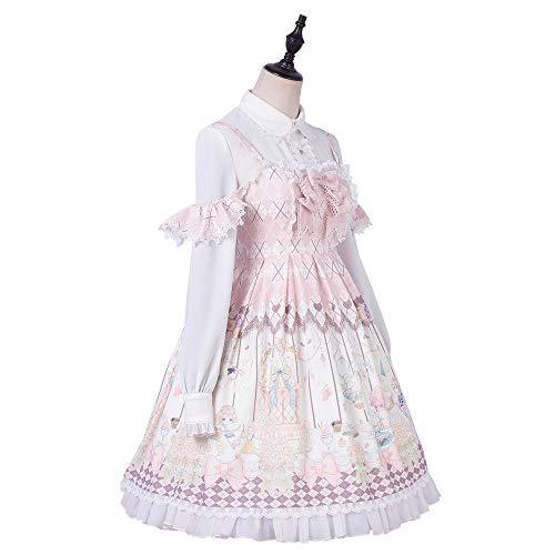 QAQBDBCKL Super Nette Op Lolita Kleid Halbe Hülse Peter Pan Kragen Phantasie Dolly Lolita Rock Gothic Süße Viktorianischen Kleid Halloween -