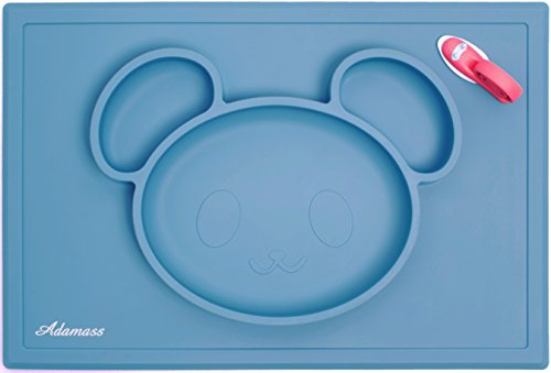 Adamass Silicone Placemat amp; Food Plate 2 In 1 - Smart Bear, Door Stopper Included / Non-Slipping Suction Bowl For Toddlers, Young Children, Babies / Kids Tableware 3-Section Placemat In Several Colors By
