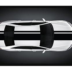 Franjas Viper 14 x 200 cm Franjas Rally Franjas de Carrera Pegatina Para Coche Viper 2N003 - 14cm x 200cm, negro mate