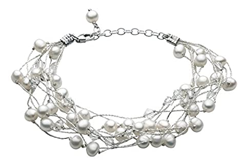 Dew Multi-strand Bracelet with Freshwater Pearls and Swarovski Crystal Beads 70GEFP
