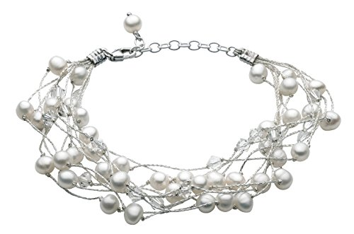 Dew Women's Multi-Stranded Swarovski Crystal and Freshwater Pearl Bracelet of Length of 8 inch