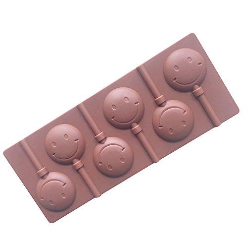 �* 0,7cm 6Mulden Smile Lollipop Kuchen Schokolade Silikon Form Schokolade 1Pack ()