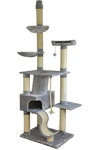 *nanook Katzen-Kratzbaum SIGURD, groß XXL deckenhoch (275 cm), große Höhle, 2 Liegemulden, schwer und standfest, Kratzstämme 11 cm Ø – grau*