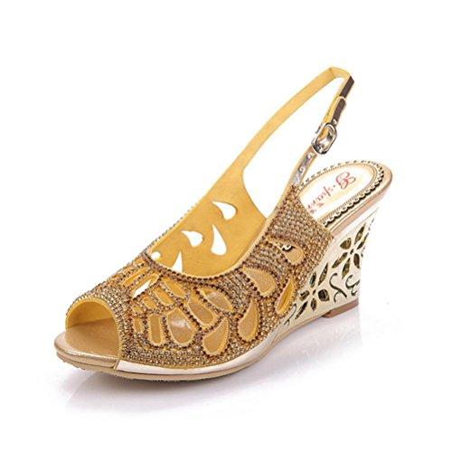 QPYC Openwork Diamond Rome Tacchi alti pesce bocca cristallo fine con fibbia strass donna sandali grandi dimensioni golden