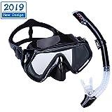 Baulanna Gafas de Buceo Adulto Kit de máscara y Tubo para Snorkelling,Máscara Antivaho y Snorkel Seco (Black)