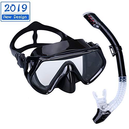 Kits de Randonnée Aquatique,Masque de Plongée Kit Masque et Tuba de Plongée Silicone Imperméable,Vision à 180 Degrés,Anti-Vapeur et Anti-Fuite pour Snorkeling,Natation (Noir)