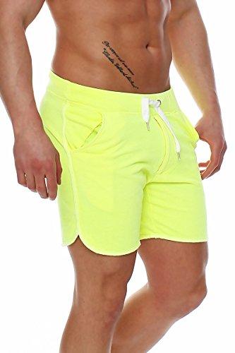 7c6aadef1f25 Happy Clothing kurze Herren Hose Shorts Bermuda Jogginghose Sommer Pants  Stoffhose Sweathose Neongelb ...