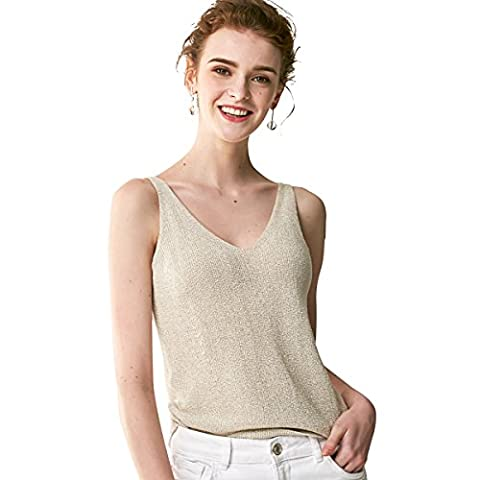 Bemorewithless Women's Straps Stretchy Sparkle Tank Vest Tops (M,