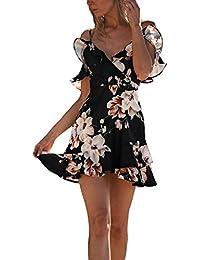 Vestidos Playa Mujer Vintage Impresión Flores Vestidos Cortos Elegantes Fashion Tirantes Fiesta Dresses Señoras V Cuello