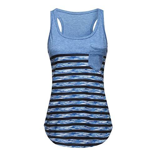 Caren Frauen Weste Tops Beiläufige ärmellose Bluse Lose Gestreifte T-Shirts Tank Workout Tees Leibchen mit Tasche (Color : Blau, Size : Small) -