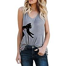riou Camisetas Sin Tirantes Mujer Básica Tops Elegante Estampado Mujeres Camisetas sin Mangas Sueltas Blusa Camiseta