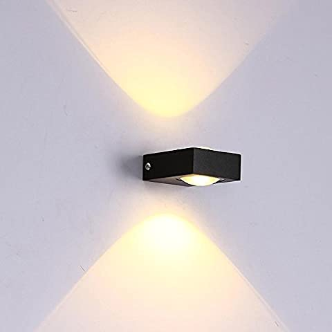 Square Mini LED Double Head Wall Lamp Modern Simple Creative Personality Black Night Light for Living Room Bedroom