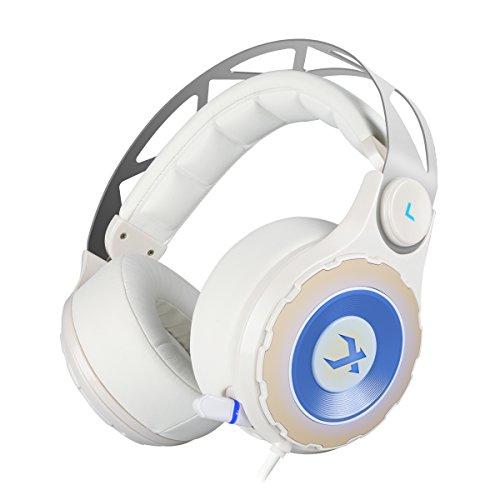 XIBERIA T18 Surround Sound Gaming Headset, Over-Ear Kopfhörer mit einklappbarem Mikrofon (White)