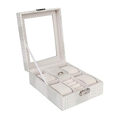 Schmuck-Box, Uhr Schmuck Aufbewahrungsbox, Schmuck-Box, Geschenk für Mädchen und Frauen Schmuck-Etui,White,16.3x20.4x8cm