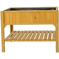Habau, Aiuola rialzata con mensola porta-oggetti, in legno di pino,