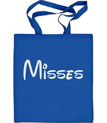 Verspieltes Geschenk für die Misses - Paar Motiv Jutebeutel Baumwolltasche Blau