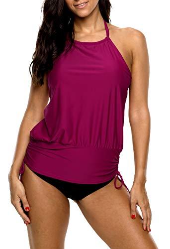 eafb3a3cee95e0 BeautyIn Badeanzug von Damen Sportlich Tankini Sets Zweiteilliger Bademode  Neckholder Swimwear XL