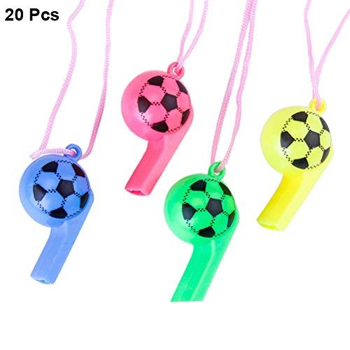 Toyvian 20pcs Kinderpfeife Fußball Muster Kunststoff Pfeifen mit Lanyards für Kinder Party Sport Geschenke Geburtstagsbevorzugung (Für Lanyards Lehrer)
