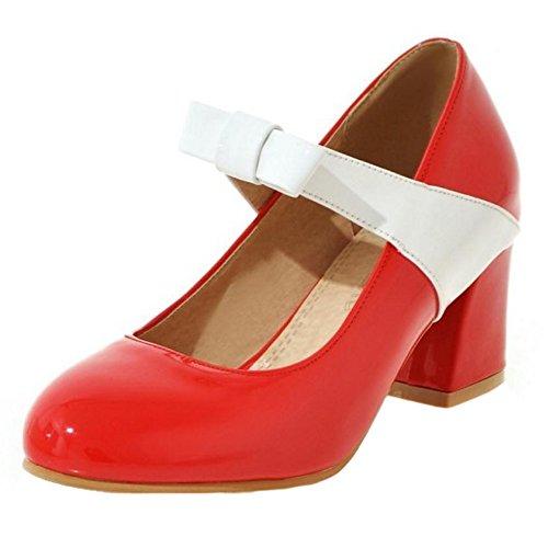 TAOFFEN Femmes Chaussures De Talons Moyen Mode A Enfiler Fete Escarpins De Bowknot Rouge