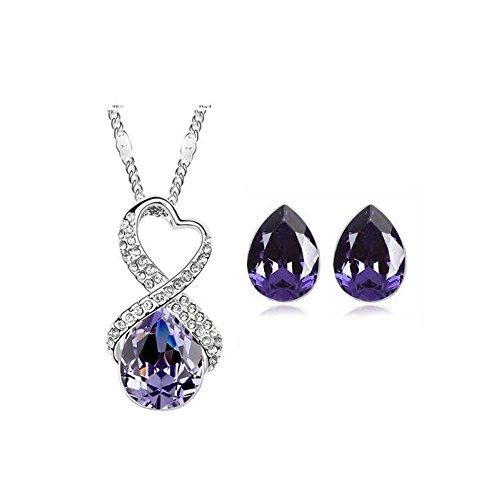 Parure coeurs croisé cristal swarovski elements plaqué or blanc Violet