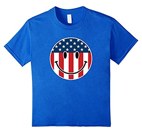 USA Smiley Funny 4th of July T-Shirt Kids 12 Royal Blue