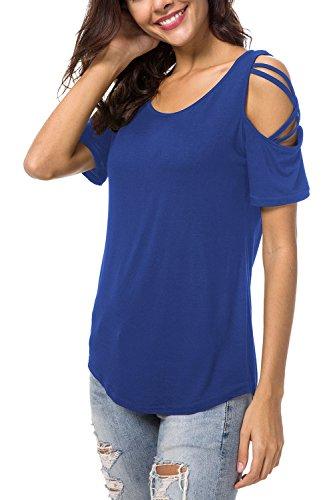 NICIAS Damen Sommer Kurzarm Rundhalsausschnitt T-Shirt Schmales Strappy Cold Shoulder Oberteil Lässige Tunika Tops Bluse Shirt(Blau,XL)