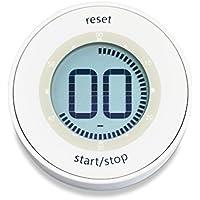 ADE Digitaler Küchentimer TD 1800-1 (Kurzzeitmesser mit LCD-Display, Magnet und Drehmechanismus zum Aufziehen, Durchmesser 6,7 cm) weiß