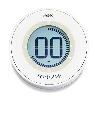 Analoge Lcd (ADE Digitaler Küchentimer TD 1800-1 (Kurzzeitmesser mit LCD-Display, Magnet und Drehmechanismus zum Aufziehen, Durchmesser 6,7 cm) weiß)