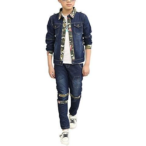 MNBS Kinder Jungen Mädchen Jeansanzug Jeansjacke Set Denim Jacke Jeans