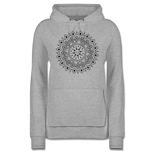 Boheme Look - Boho Mandala Yoga Sketch - S - Grau meliert - JH001F - Damen Hoodie