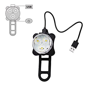 Ascher Rechargeable LED Bike Lights Set - Headlight Taillight Combinations LED Bicycle Light Set (650mah Lithium Battery, 4 Light Mode Options, 2 USB cables) by Ascher