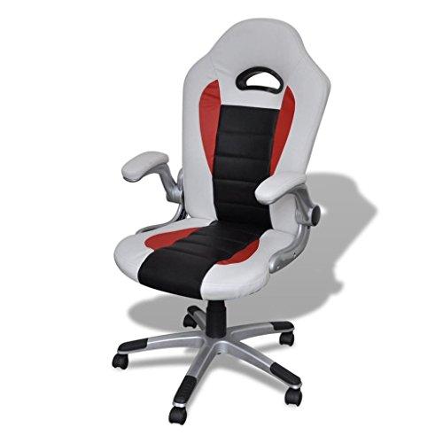 SENLUOWX Bureau Fauteuil Moderne en Cuir Artificiel Design Blanc Matériel châssis : Plastique + Bois contreplaqué + Fer chaises de Bureau