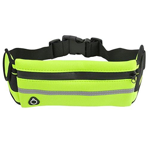 Faleto Sport Hüfttasche flache Bauchtasche Gürteltasche mit Kopfhöreranlass passt alle Handys unter 6 Zoll für Damen und Herren auf Sport und Outdoor Aktivitäten anwenden Fluoreszierende grün#01