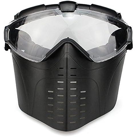 Cara completa al aire libre CS juego de guerra antiniebla con ventilación y gafas de táctica caza Paintball Airsoft eléctrico ventilador Gas Máscara con gafas, negro