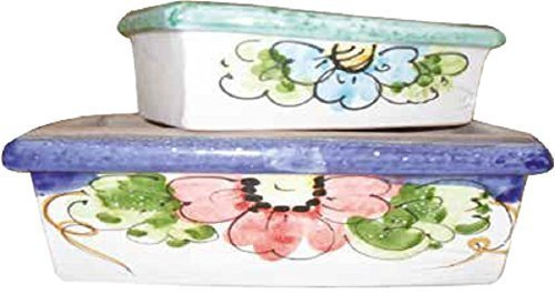 Fioriera (set di 3 pezzi) in ceramica artistica dipinta a mano; lunghezza cm. 16; altezza cm.7; profondita' cm. 8.