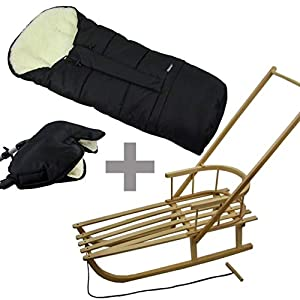 BambiniWelt24 Kombi-Angebot! Schlitten mit Rückenlehne und Schiebestange + Winterfußsack, Mumie + Handwärmer, Muff