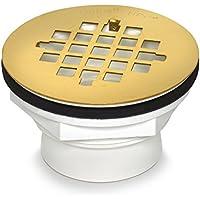oatey 42078101PS pvc-solvent saldatura scarico doccia in ottone lucido, con colino, finitura PVD, 2