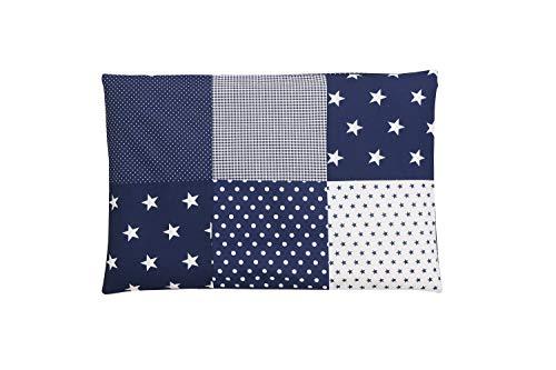 ULLENBOOM ® Patchwork Kissen 40x60 cm mit Füllung Blaue Sterne (mit Reißverschluss, Bezug auch für Dekokissen geeignet, Motiv: Sterne, Patchwork) -