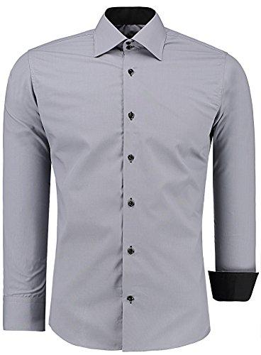 J'S FASHION Herren-Hemd – Slim Fit – Bügelleicht – Langarm-Hemd für Business Freizeit Hochzeit – Grau - M