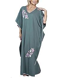 Nuisette en satin pour femmes/dames, Jersey brodé, motif Caftan, taille unique, couleurs variées