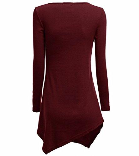 Femmes Mode Automne En Europe Irreguliere Hem Long Bouffancy Tee-Shirts Hauts vin rouge
