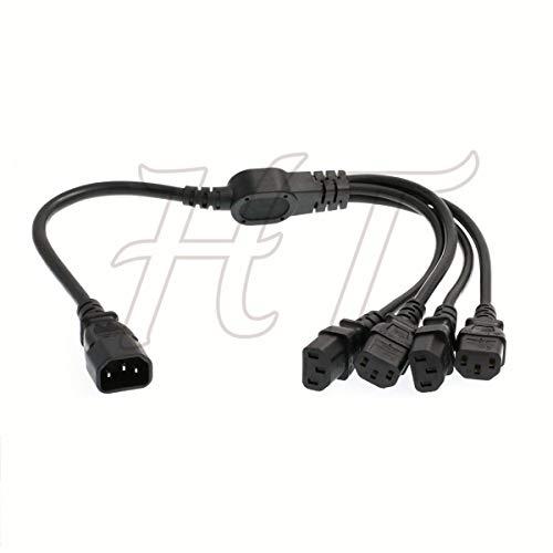 HT-Kabel IEC320 C14 4 x C13 USV PDU Y Splitter Computer PC Netzkabel 10A 250V Verlängerungskabel (60cm (24in))