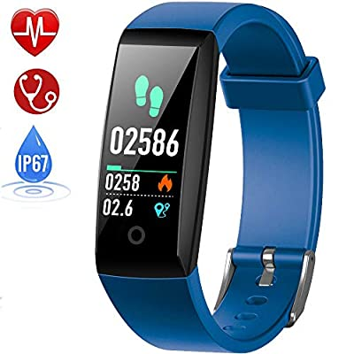 HETP Fitness Tracker, Heart Rate Fitness Wristband Smart Watch Waterproof IP67 Activity Tracker Blood Pressure Smart Bracelet with Stopwatch Sport GPS Pedometer Step Calorie Counter Women Men from HETP