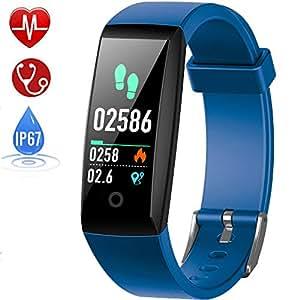 HETP Fitness Tracker Cardiofrequenzimetro, Orologio Fitness Impermeabile IP67 Activity Tracker GPS Pedometro da Polso Braccialetto Sfigmomanometro Cronometro Sport Smartwatch Contapassi per Uomo Donna
