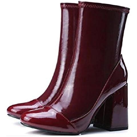 YYH Para mujeres o niñas peelings Retro Martin aumentó botas cuero mediados de-becerro alta talón de los zapatos , red ,