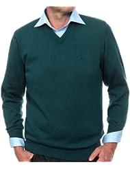 Casamoda - Jersey regular fit con cuello de pico de manga larga para hombre