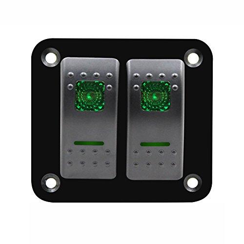 SNOWINSPRING 12V-24V 2 Gang Gruen Rocker Switch Panel Leistungsschalter Boot Marine wasserdicht - Zwei Rocker Switches