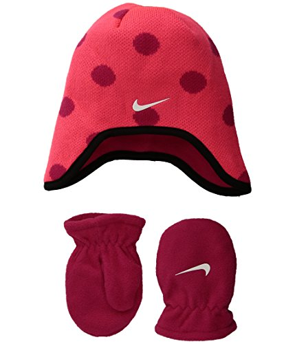 Nike Infant/Toddler 2 Piece Beanie & Mittens Set (Racer Pink(2A2711-A4F)/White, 2T-4T (Toddler)) Set 2t 4t-sets