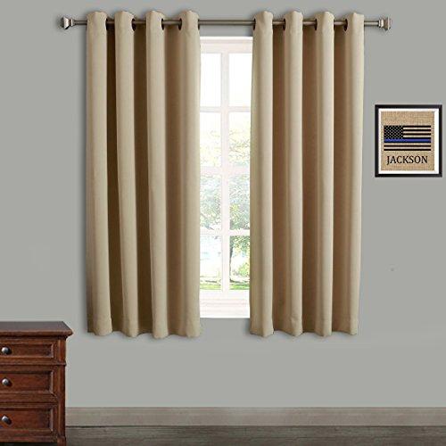 RHF zur Wärmedämmung Terrasse Tür Vorhang Panel, Schiebetür Vorhänge Antik Bronze Tülle Top, Polyester-Mischgewebe, beige, 52 by 63 Inches 2 Panels - 52 Beige Rose